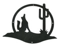 Large Metal Cut Out - Wolf & Cactus