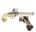 Italian 3 Barrel Flintlock Non Firing Replica