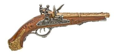 Napoleonic Double Barrel Flintlock Pistol Br>Non Firing Replica Gun
