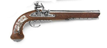 Classic French Dueling Pistol Silver Non Firing Replica Gun
