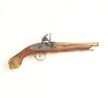 Replica 18Th Century Engraved Flintlock Pistol