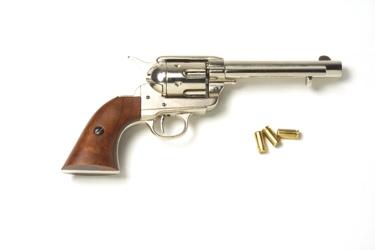 Old West Frontier Replica Revolver Non Firing Replica Gun Nickel Finish