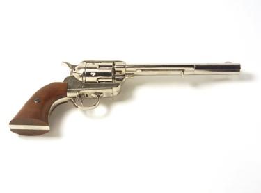 M1873 Old West Revolver Cavalry Barrel Non Firing Replica Gun Nickel Finish