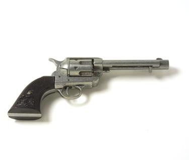 M1873 Replica Frontier Old West Revolver Antique Grey Finish Black Grips Non Firing Replica Gun