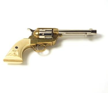 M1873 Old West Revolver Frontier Barrel Dual Tone Finish Non Firing Replica Gun