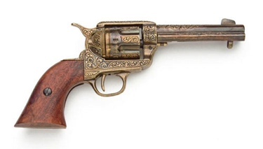 Fast Draw Old West Revolver Gold Engraving Non Firing Replica Gun