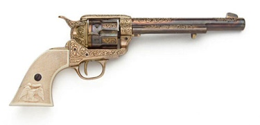 Old West Cavalry Revolver Gold Engraving Non Firing Replica Gun