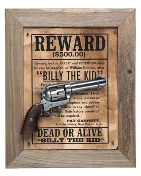 Billy The Kid Deluxe Barnwood Framed Set Non Firing Replica Gun