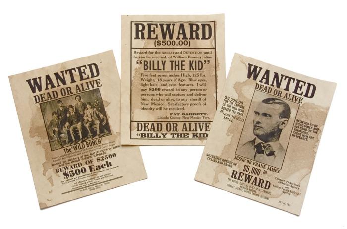 billy the kid wanted poster. Set Of 3 Wanted Posters: Billy