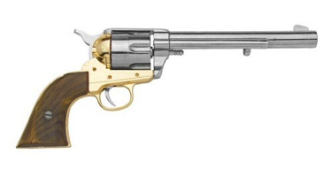 M1873 Old West Cavalry Revolver Nickel Finish Non Firing Replica Gun