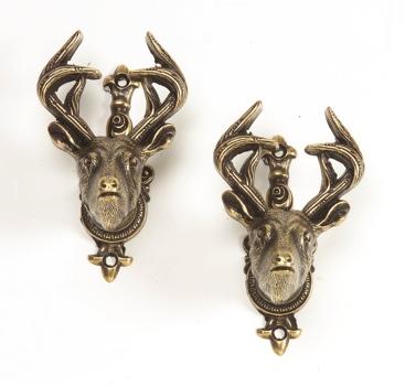 Deer Head Style Gun Hangers Brass Finish
