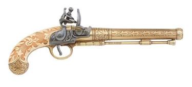Engraved Belgian Flintlock Gold Finish Non Firing Replica Gun
