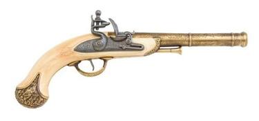 India Flintlock Pistol Brass And Ivory Finish Non Firing Replica Gun