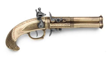 Three Barrel Revolving Flintlock Pistol Non Firing Replica Gun