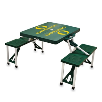 Oregon University Hunter Green Folding Table With Seats
