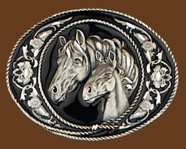 Horseheads Belt Buckle Diamond Cut 3-1/2 x 2-1/4