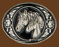 Horseheads Belt Buckle Diamond Cut 3-1/2 x 2-1/4