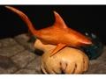 Tiger Shark Sculpture On Drift Wood Base Hawaii Dolphin