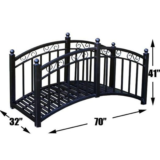 Metal garden pond bridge decorative rails miscellaneous for Decorative fish pond bridge