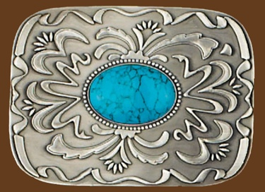 Belt Buckle Turquoise Stone 3-1/2 x 2-1/4