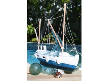Fishing Boat Blue Coastal 20 Hand Carved Coastal Decor