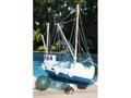 Fishing Boat Blue Coastal 20 Hand Carved Coastal Decor