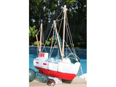 Fishing Boat Red Coastal 20 Hand Carved Coastal Decor