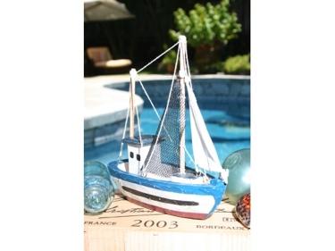 Fishing Boat Blue Coastal 10 Hand Carved Coastal Decor