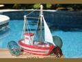 Fishing Boat Red Coastal 10 Hand Carved Coastal Decor