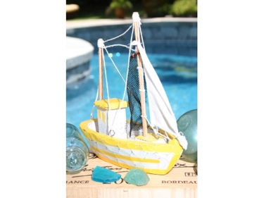 Fishing Boat Yellow Coastal 10 Hand Carved Coastal Decor