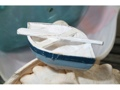 Nautical Boat W Paddle Blue Coastal 4 Hand Carved Coastal Decor