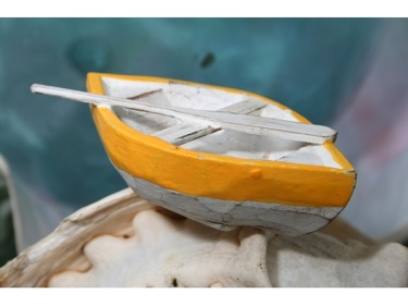 Nautical Boat W Paddle Yellow Coastal 4 Hand Carved Coastal Decor