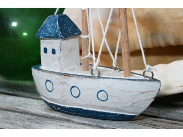 Boat House Blue Coastal 6 Hand Carved Coastal Decor