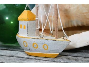 Boat House Yellow Coastal 6 Hand Carved Coastal Decor