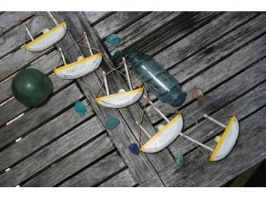 Hanging Boat House Set Of 5 Yellow Coastal Coastal Decor