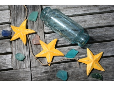 Hanging Starfish Set Of 3 Yellow Coastal Coastal Decor