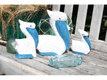 Pelican Set Of 3 Blue Coastal Beach Decor