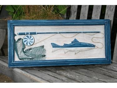 Fishing Gear Shadow Box Rustic Blue Coastal 22 Coastal Decor