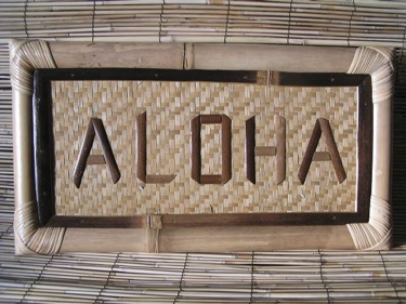 Bamboo Tropical Sign Aloha Tiki Bar Decor