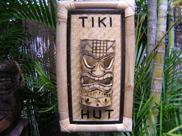 Bamboo Tiki Sign Tiki Hut W Tiki Mask Tiki Bar Decor