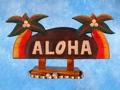 Welcome Sign Aloha W Palm Trees Coastal Decor
