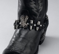 Leather Boot Straps with Eagle & Shells