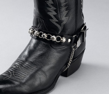 Black Leather Boot Chains star studs & rings