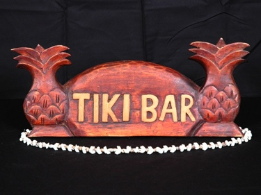 Welcome Sign Tiki Bar W Pineapple Dark Stain