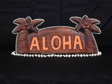 Welcome Sign Aloha W Palm Trees Rope Nautica