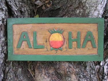 Aloha Pineapple Tiki Sign 16 Carved Painted Home Decor