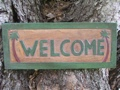 Welcome Palm Trees Tiki Sign 16 Carved Painted Home Decor