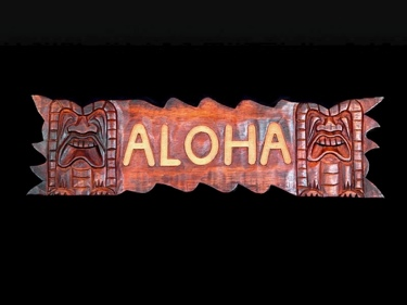 Aloha Sign W Carved Tikis 24 Island Home Decor