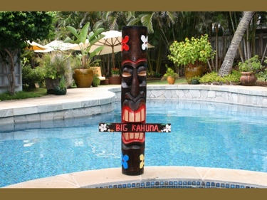 Big Kahuna Tiki Totem 39 -Plumeria Hand Painted Surf Decor