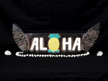 Surf Sign Aloha W Pineapple 20 Antique Finish